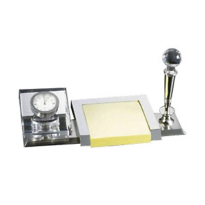 Personalized Free Engraving Crystal Desk Gift Set With Clock Pen And Memo Holder
