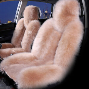 2pcs Car Suv Wool Seat Cover Warm Soft Sheepskin Comfortable Protector Cameo Set