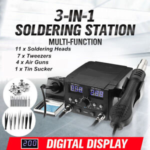 3 In1 Lcd Solder Station Soldering Iron Desoldering Rework Hot Air Heater Kit He