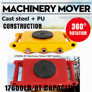 8 Ton 17 600lbs Heavy Duty Machine Dolly Skate Machinery Roller Mover W 360 Cap