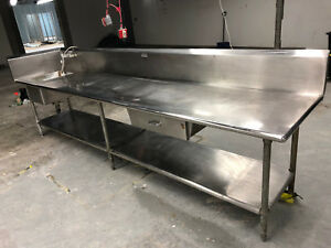 138 Stainless Steel Prep Table Workbench With Sink Resturant Service Warehouse