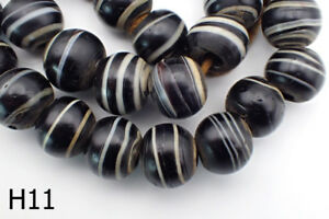 Antique Solomon Sulaimani Like Multilayer Agate Ball Glass Bead Strand H11