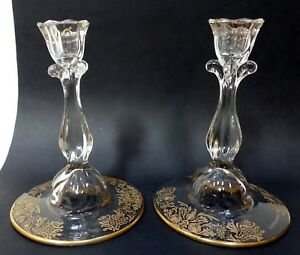 Ee106 Pair Of Vintage Elegant Glass Candlesticks Etched Gilt Base 6 High