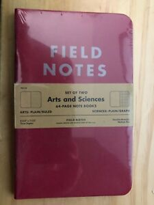 Field Notes Arts And Sciences summer 2014 New Sealed 2 pack Brand New
