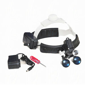 Dental Ent Surgery Led Headlight With 2 5x420mm Leather Headband Loupe Dy 105