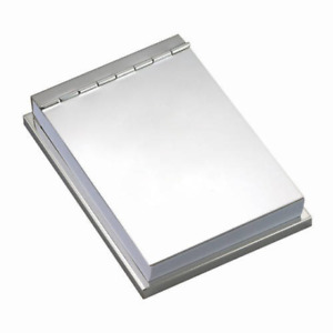 Free Engraved Personalized Notepad Memo Holder Silver Matte Goldtone For Office