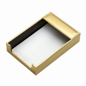 Free Engraved Personalized Silver And Goldtone Notepad Memo Holder With Design