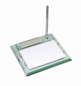 Free Engraved Personalized Silver Glass Heavy Desk Notepad Memo Holder With Pen