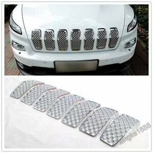 Chromed Front Grille Inserts Mesh Grill Accessories For Jeep Cherokee 2014 18 N