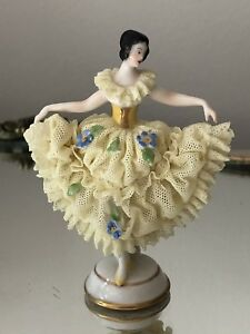 Antique Vintage Mini Miniature Lace Figurine Volkstedt German Dancer Ballerina