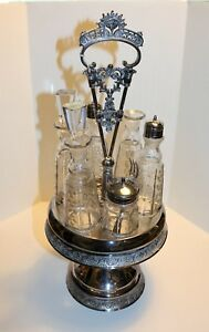 Victorian Standard Silver Co Condiment Holder Etched Glass 18 Tall Elegant 6 Pc