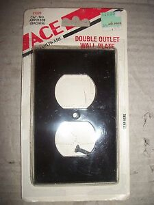 Vintage Ace 2 Double Outlet Wall Plate Cover Dark Brown Plastic Usa Made