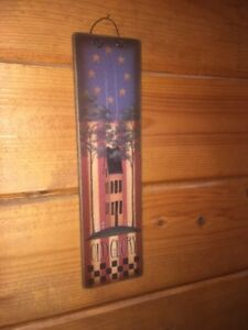 Primitive Country Patriotic Americana Wood Wall Hanging Plaque Sign Wire Hanger