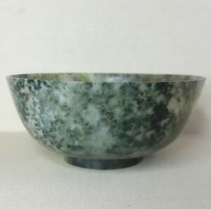 Antique Chinese Bowl 19th 20th Century Made From Spinach Jade