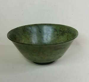 Antique Chinese Bowl Made From Spinach Jade 19th Century