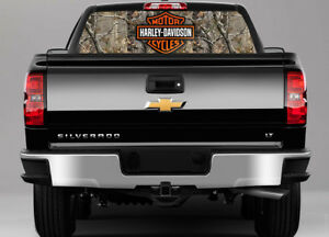 Motorcycle Bike Camo Rear Window Perf Graphic Decal Truck Suv Chevy Ford Dodge