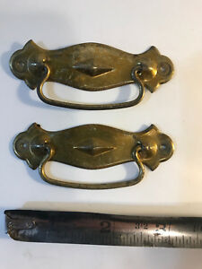 Boxmakers Pair Of Small Vintage Pressed Steel Drawer Pulls Nail In Type