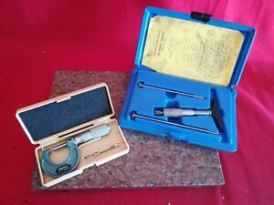 Mitutoyo 0 1 0001 Micrometer No 103 135 w Central Tools 0 3 Depth Micrometer