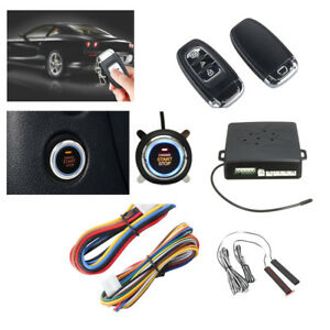 Pke Car Alarm System Passive Keyless Entry Push Button Remote Engine On Off