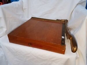 Ingento No 4 Guillotine Paper Cutter Brass And Maple Wood 12x12