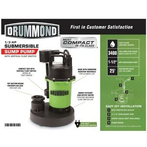 1 3 Hp Submersible Sump Pump With Vertical Float 3400 Gph Pond New