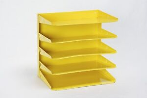 Retro Steel Office Mail File Organizer Refinished In Yellow Free Shipping