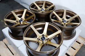 15 Inch Wheels Accord Civic Escort Geo Prizm Miata Cooper Mr2 Bronze 4x100 Rims