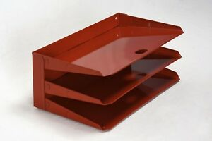 Retro Steel Office Mail File Organizer Refinished In Red Free Shipping