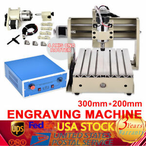 4axis Cnc 3020 Engraver Router Engraving Machine Milling Desktop Cutter Parallel