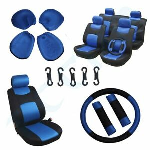 13 Pieces Full Set Car Auto Seat Covers Black Blue Easy To Install Polyester