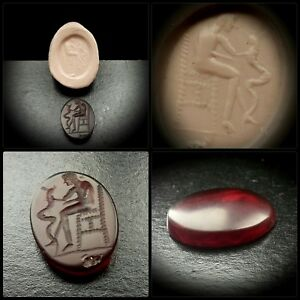 Roman Intaglio Gemstone Seal With Seated God Holding Horned Snake 2nd 4th A D