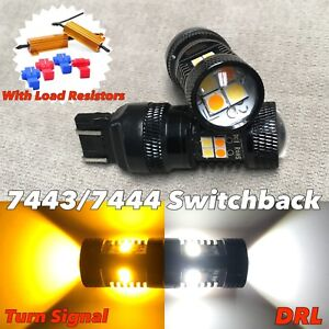 Front Turn Signal Parking Switchback Drl A Led Bulb White Amber 7443 7444 W1 Jae