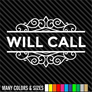 Will Call Store Front Decal Sticker Business Sign Door Store Window Decal