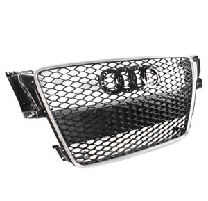 Black silver Trim Rs5 Style Mesh Upper Hex Grille For 2008 2012 Audi A5 s5 B8 8t