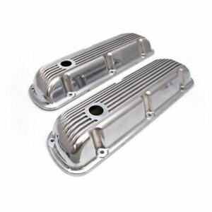 62 85 Sbf Ford 302 Retro Finned Polished Aluminum Short Valve Covers 289 351w