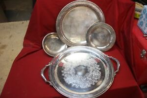 Antique Silver Trays Collection Of 4 Plated About 1948