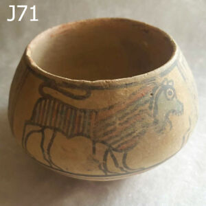 Early Pottery Ancient Art Indus Valley Ceramic Tiger Goat J71