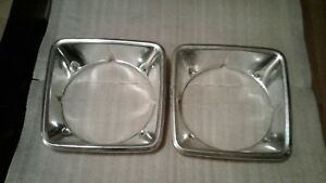 1975 Dodge Truck Headlight Bezels Oem Pair 1972 1973 1974 1976 Power Wagon