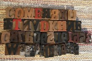 Lot Of 45 Antique Vtg Wood Letterpress Print Type Block Alphabet Letters Numbers