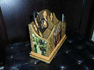 Office Tool Pen Pencil Holder Hand Made With Clay With Painting Decoupage