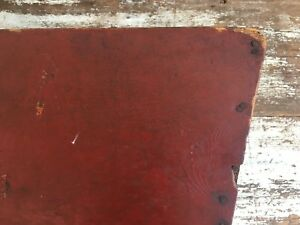 Early Antique Folk Art Wooden Trencher Dough Box Original Red And Blue Paint