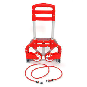 165 Lbs Folding Aluminium Cart Luggage Trolley Hand Truck With Red Bungee Cord