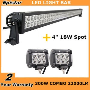 52inch 300w Led Light Bar Combo 2x 4 Cree Pods Suv Work Off Road Jeep 4wd 51 48