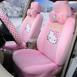 18 Piece Baby Pink Full Polka Dot Hello Kitty Car Seat Covers