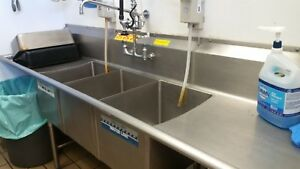 3 Three Compartment Commercial Stainless Steel Sink 96 X 26 8 G