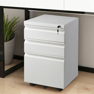 White File Cabinet Rolling Mobile A4 Drawers Pedestal Storage Steel Home Office