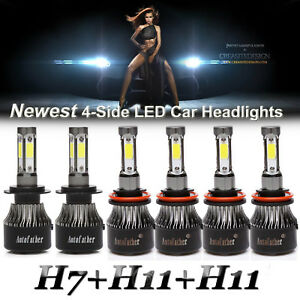 H7 h11 h11 Combo 6000w 900000lm Led Hi lo 4 side Headlight fog Light 6000k Bulbs
