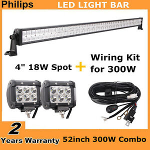 Philips 52 300w Combo Led Light Bar Off road Jeep 4 18w Spot Pods wires 48 51