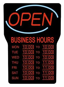 Led Business Hours Open Sign Customizable Time Frames Easy Mounting 15 In X 24