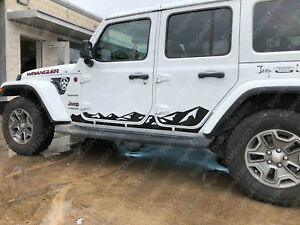 0724 Rocker Panel Mountain Vinyl Decal Graphic For Jeep Wrangler Jl Jlu 4 Door